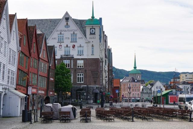 Bryggen on a cloudy morning in Bergen Norway