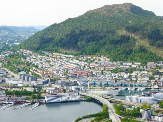 Bergen and another of the mountains that surround it - view from Mt. Floyen