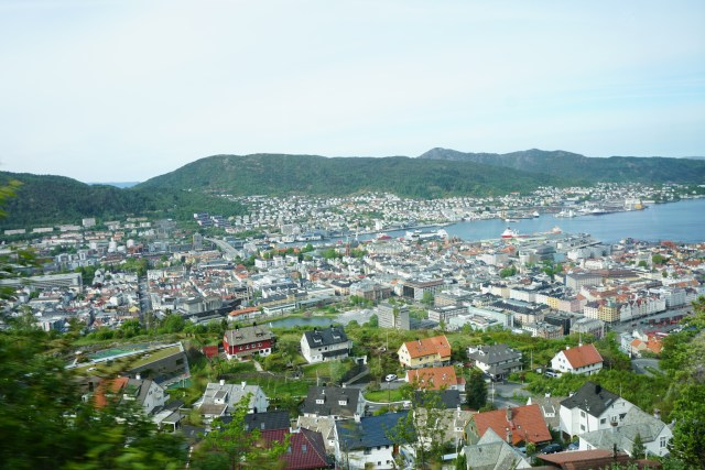 Panoramic view of Bergen from the viewing platform on Mount Floyen