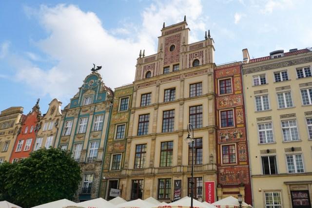 Facades at Dlugi Targ Old Town Gdansk Poland