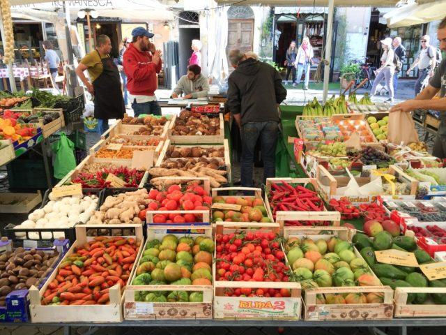 Produce stall at the Campo de' Fiori in Rome Italy
