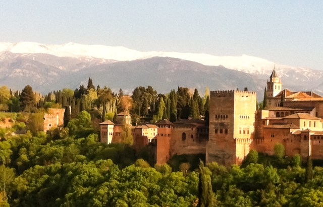 The Alhambra of Granada Spain with the Sierra Nevada as its backdrop