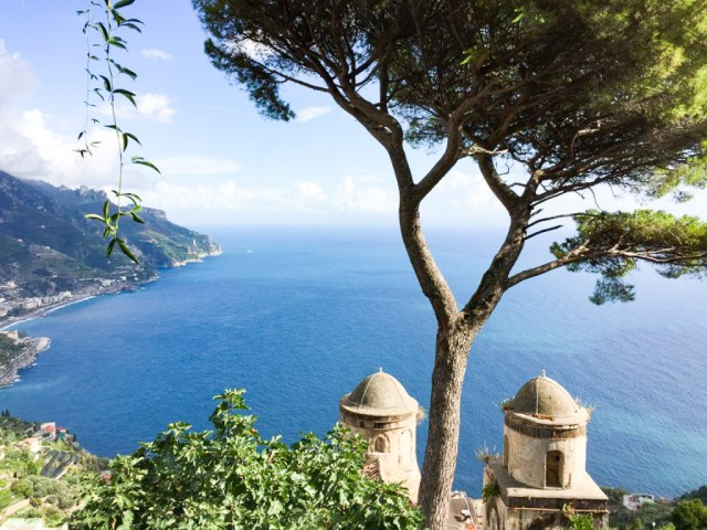 The famous twin towers of the Villa Rufulo in Ravello Italy