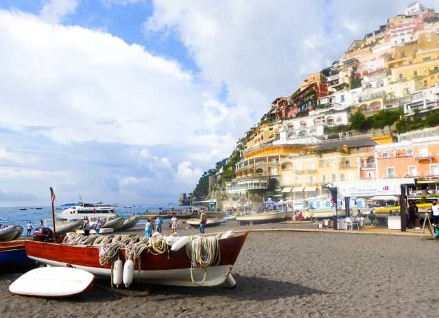 Looking up at Positano from the Spiaggia Grande