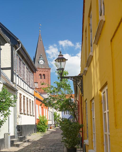 Pretty street in Aalborg, Denmark