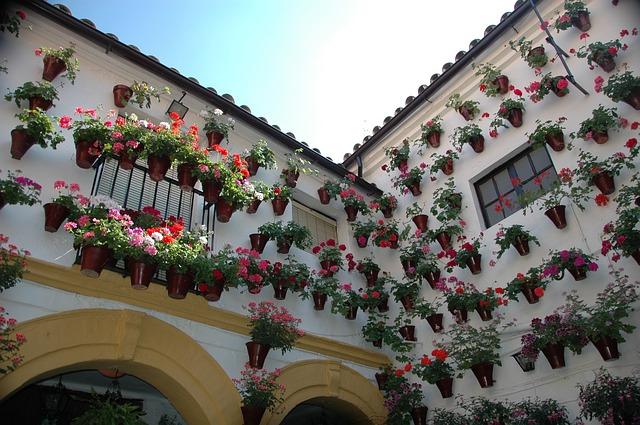 A pretty patio in Cordoba in Andalusia, Spain