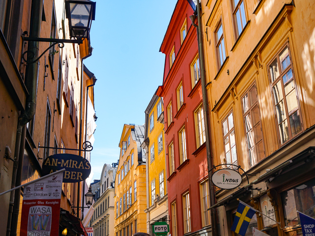 The facades of Gamla Stan in Stockholm, Sweden