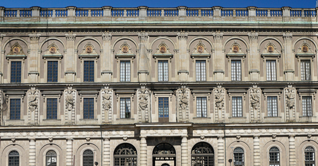 The gorgeous facade of the Royal Palace at the Royal Armoury Stockholm Sweden