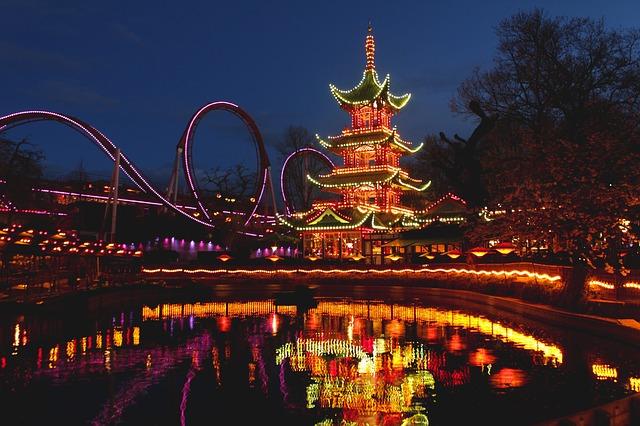 Lights at Tivoli Gardens, Copenhagen, Denmark