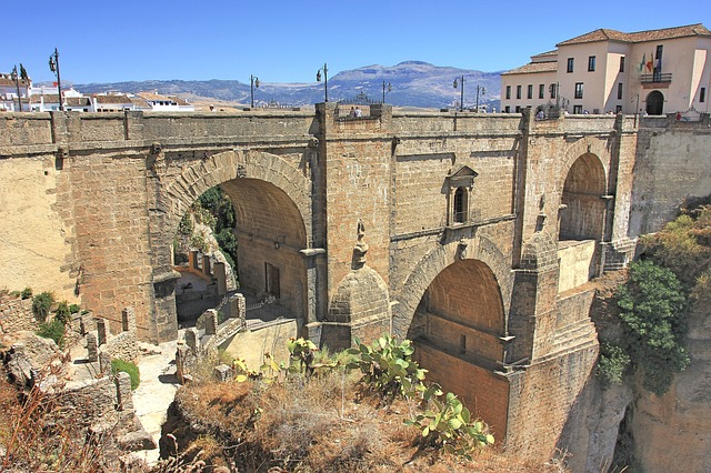 An up c lose view of the Puente Nuevo in Ronda, Spain