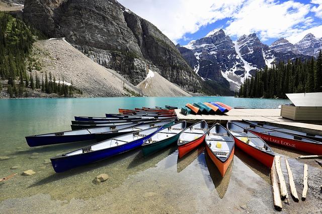 Canoe Dock Moraine Lake Alberta Canada