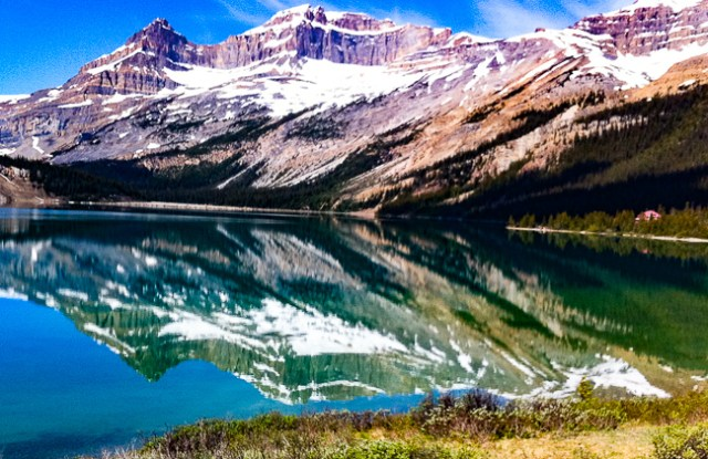 Reflections in Bow Lake Banff National Park Canada