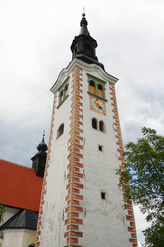 Bell Tower of the Church of the Assumption on Bled Island in Bled, Slovenia