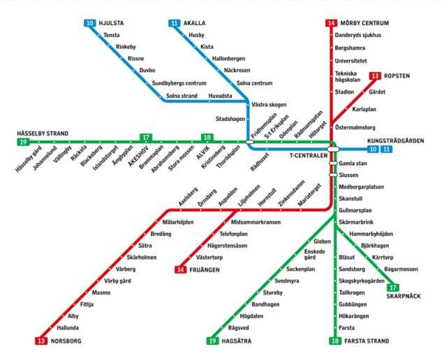 Map of Stockholm Subway Stations