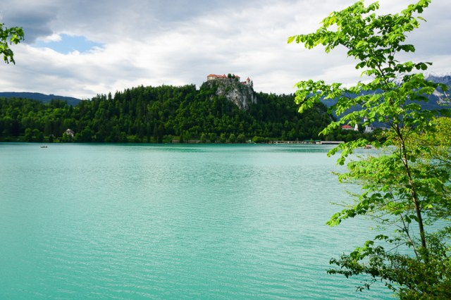 A view from the shore of Lake Bled in Slovenia