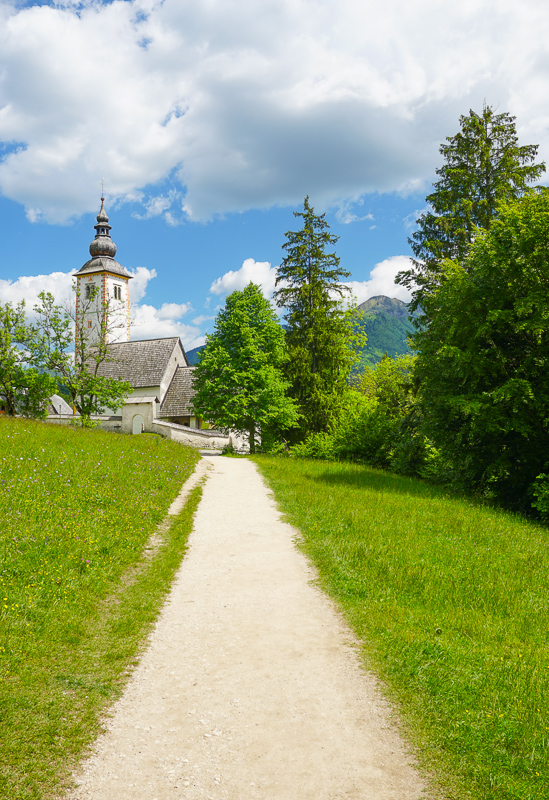 Lakeshore path Lake Bohinj Slovenia