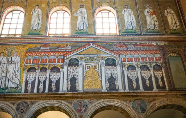 A mosaic of Theodoric's Palace at the Church of sant'Apollinare Nuovo in Ravenna Italy
