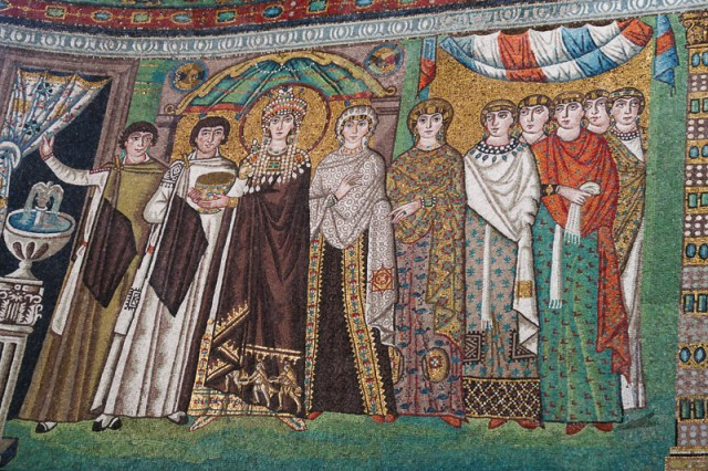 Theodora and her ladies in waiting mosaic in Ravenna Italy