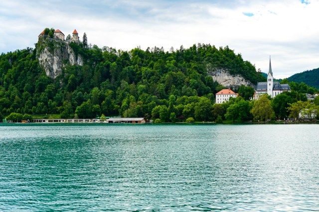 View from shore of Lake Bled in Slovenia