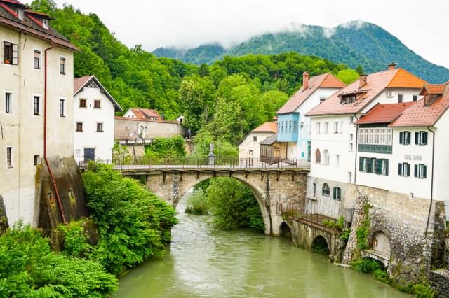 Capuchin Bridge in Skofja Loka Slovenia