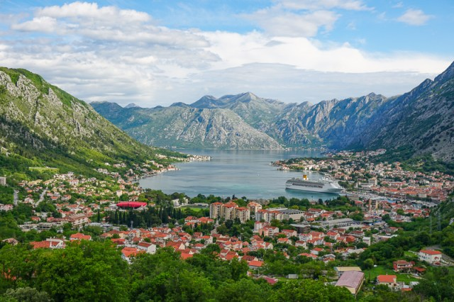 The Bay of Kotor from the Kotor-Njegusi Road in Montenegro