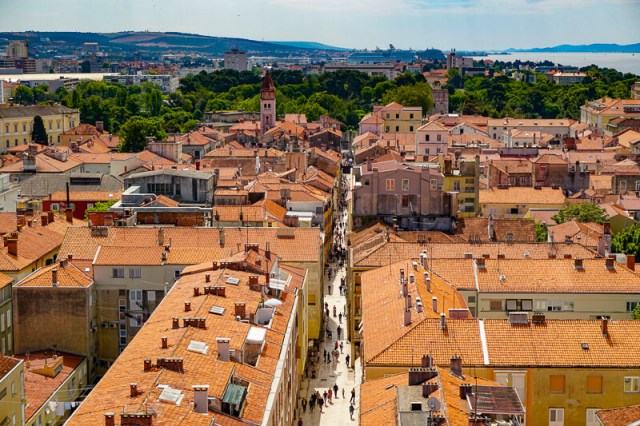 Zadar Old Town in Croatia from Bell Tower