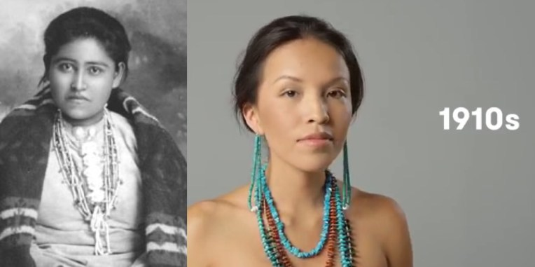 """The 1910s became a prelude to a major change in Dine' way of life. Native veteras who had served in WWI were granted US citizenship, not including women. Yet, Navajo womens' rug weavings were seen as """"housework"""" and not as one of the most marketable incomes of that time. One method used to create a marketable rug, fairs and exhibits with prizes were provided to """"discourage inferior work and the making of smaller sizes"""" were encouraged by the Commissioner of Indian Affairs in their 1913 Annual Report. CREDIT - L, Photo: """"A Navajo Belle."""""""