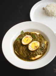 Tastiest green egg curry recipe with coconut milk and cilantro