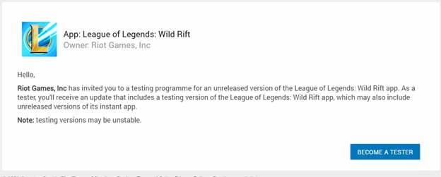 Tester Wild Rift