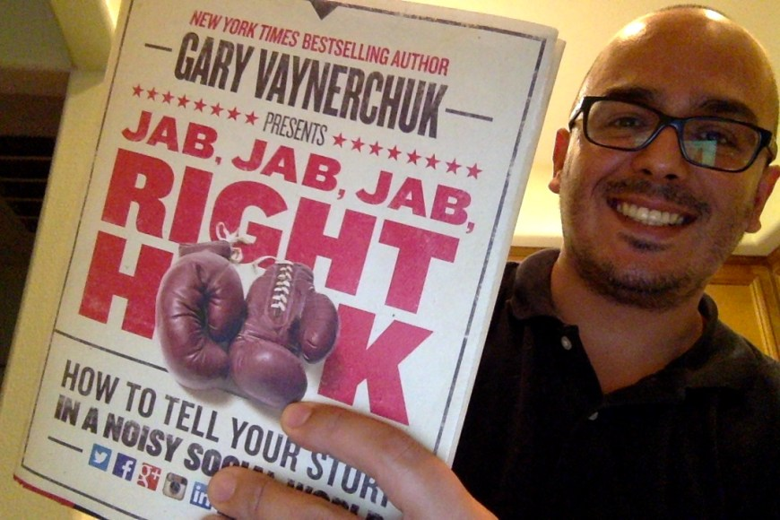 Picture of Oscar Gonzalez with the Jab Jab Jab Right Hook Book