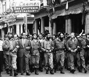 Marcha en la Habana con líderes de la revolución cubana