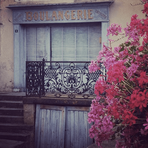 French boulangerie, pink flowers