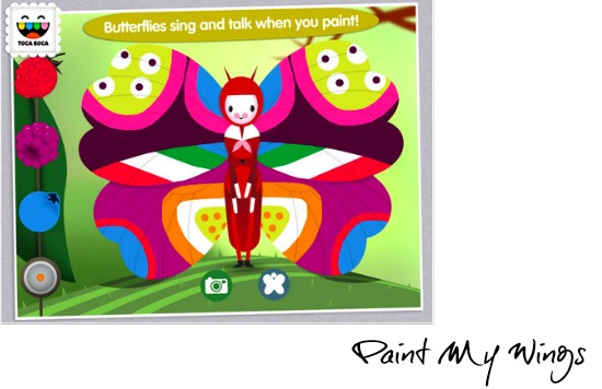 Paint My Wings, Toca Boca app for kids