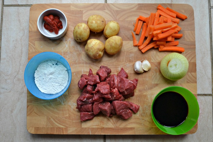 Ingredients for a beef stew