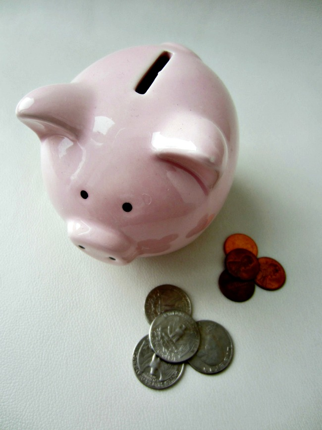Saving for the future with a piggy bank