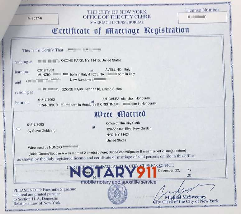 Marriage Certificate Apostille  Same Day Availability