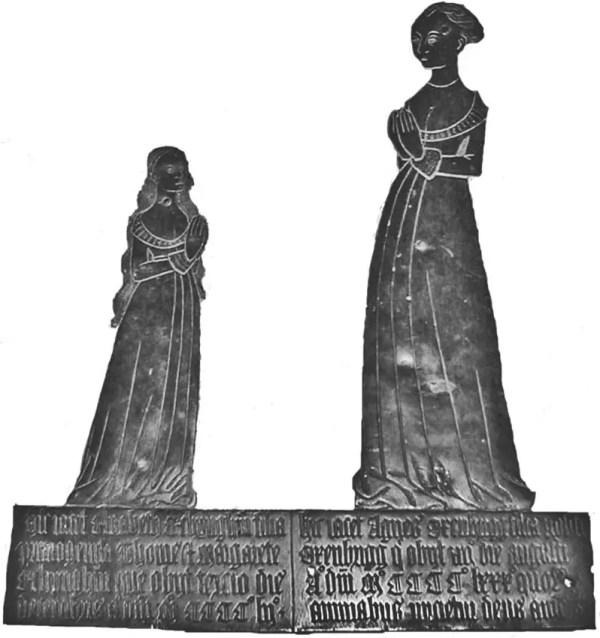 Memorial brass to Elizabeth Etchingham and Agnes Oxenbridge, Etchingham, East Sussex, c. 1480 (Medievalists.net)