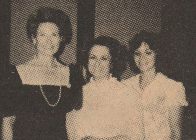 Phyllis Graham, an important anti-feminist leader on Long Island, captured this photograph, which appeared in a local anti-abortion newspaper, at the Eagle Forum's annual meeting in St. Louis, Missouri, in 1982. The photo features (left to right): Eagle Forum president and founder, Phyllis Schlafly, and Phyllis Graham and her college-aged daughter, Mary Jane Graham. Courtesy of Phyllis Graham