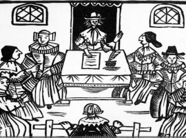 Circa 1662, A man is arraigned before a judge in a 17th century courtroom scene used to illustrate a ballad entitled 'The Ladye's Vindication'. (Photo by Hulton Archive/Getty Images)