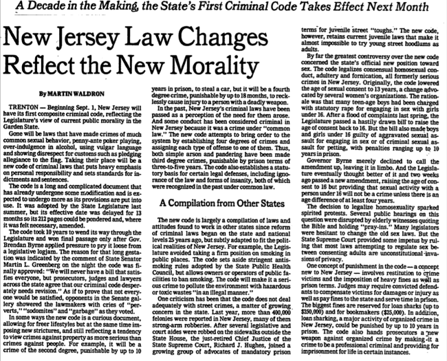 In 1978–79, the New Jersey legislature almost lowered the age of consent in the state to 13. New York Times, August 12, 1979.