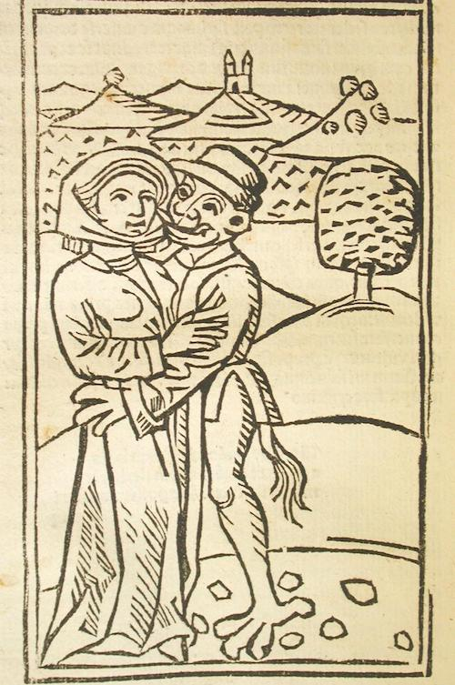Ulrich Molitor, De lamiis et phitonicis mulieribus (Constance, 1489). This woodcut depicts a woman being seduced by the Devil. (Wikimedia Commons)