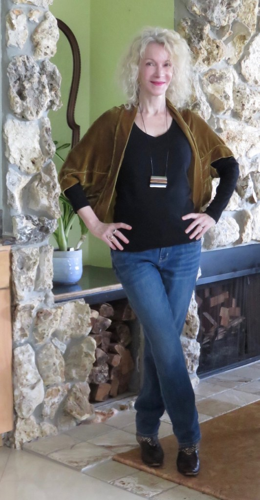 olive shrug and jeans