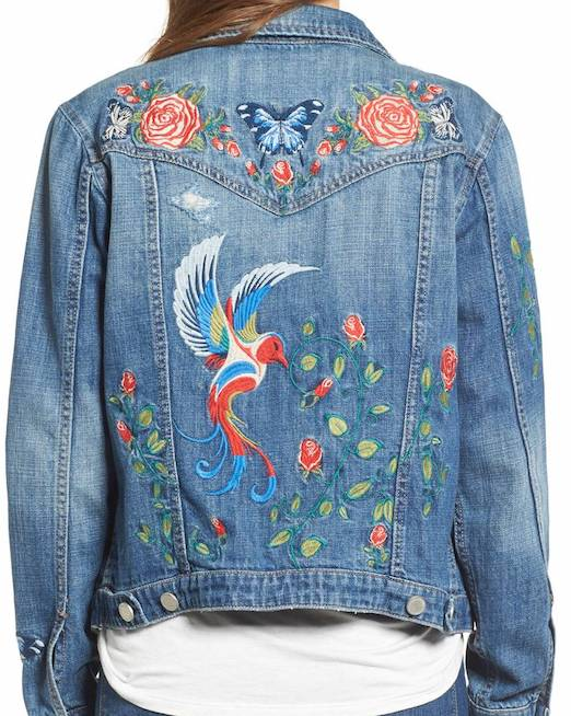 Love the embroidery on the front and back of this denim jacket.