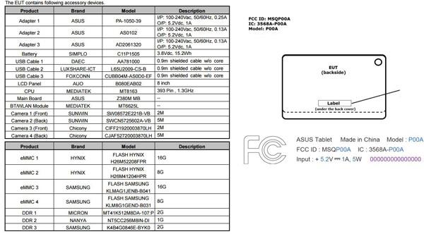 Un nuovo ASUS ZenPad 8.0 (Z380M) con MediaTek MT8163 da