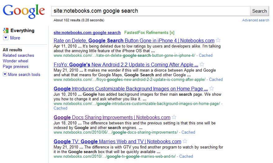 google s new site