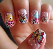 pretty butterfly nail art design