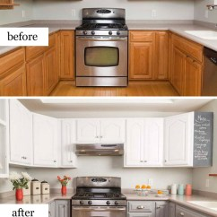 Kitchen Makeovers Installing Backsplash Pretty Before And After Noted List Simple Makeover With Painted Cabinets