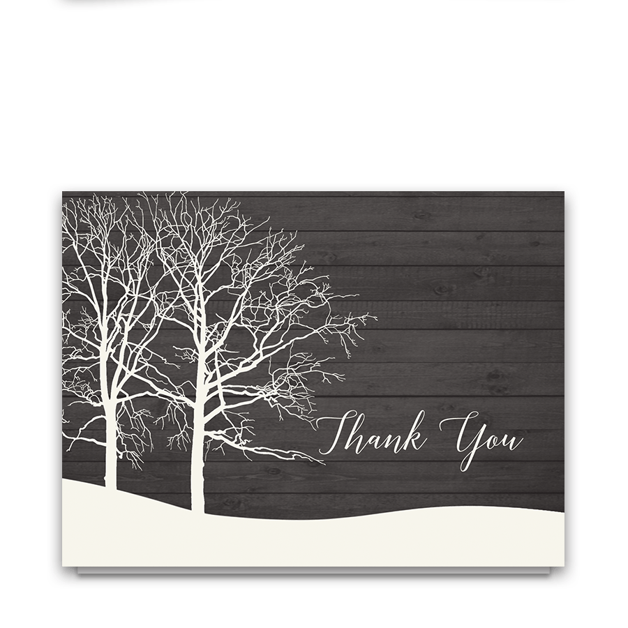 Rustic Tree Winter Wedding Thank You Note Cards