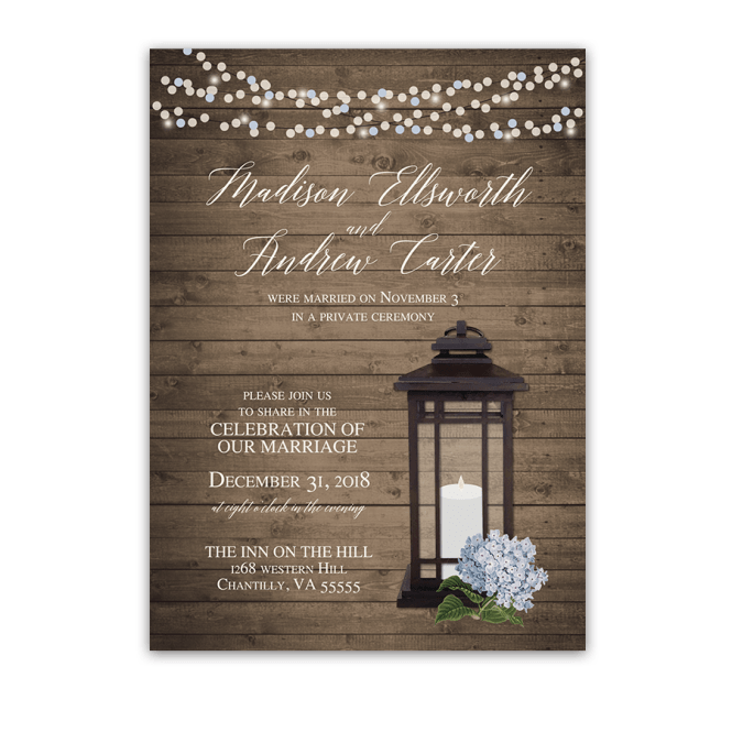 Rustic Lantern Wedding Reception Only Invitations Blue