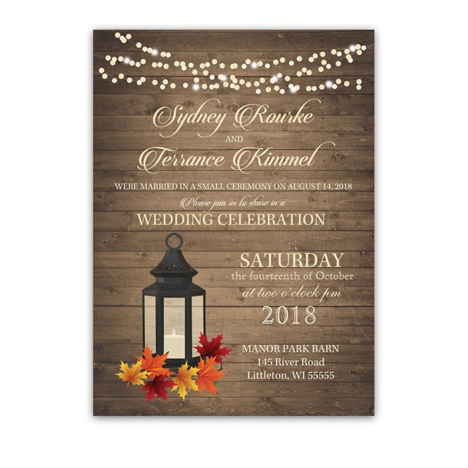 Rustic Fall Leaves Lantern Wedding Reception Invitation